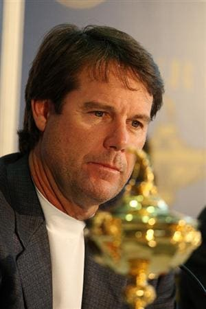 LOUISVILLE, KY - SEPTEMBER 15:  The USA captain Paul Azinger addresses the media at the Kentucky State Fair Conference Center prior to the 2008 Ryder Cup held at Valhalla Golf Club on September 15, 2008 in Louisville, Kentucky.  (Photo by David Cannon/Getty Images)
