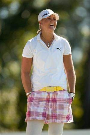 PRATTVILLE, AL - OCTOBER 7: Anna Nordqvist of Sweden waits on the 17th tee during the first round of the Navistar LPGA Classic at the Senator Course at the Robert Trent Jones Golf Trail at Capitol Hill on October 7, 2010 in Prattville, Alabama. (Photo by Darren Carroll/Getty Images)