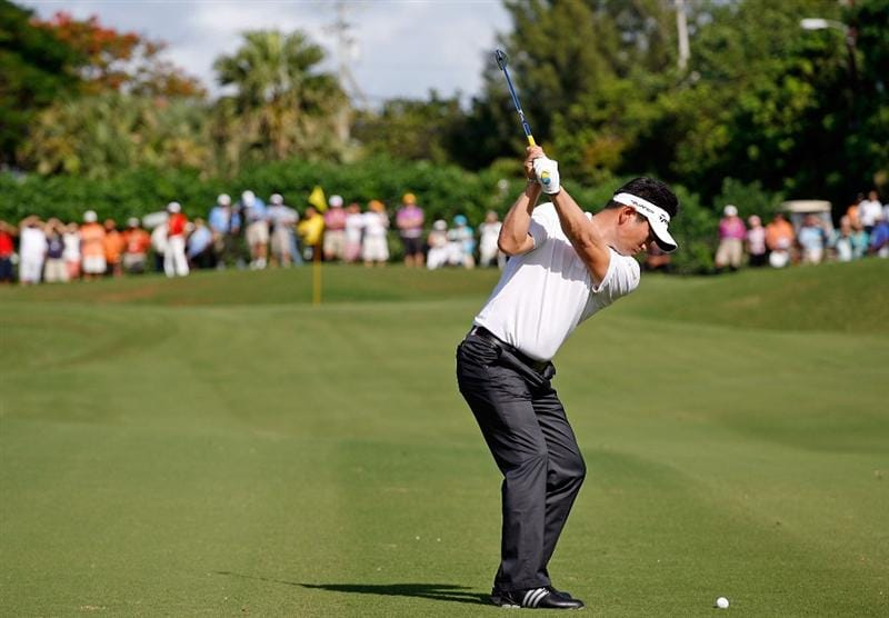 SOUTHAMPTON, BERMUDA - OCTOBER 20:  Y.E. Yang of South Korea hits his third shot on the 2nd hole during the first round of the PGA Grand Slam of Golf on October 20, 2009 Port Royal Golf Course in Southampton, Bermuda.  (Photo by Andy Lyons/Getty Images)