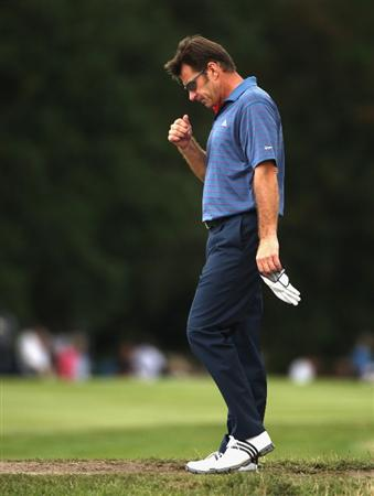 SUNNINGDALE, ENGLAND - JULY 25:  Sir Nick Faldo of England walks to his ball during the third round of The Senior Open Championship presented by MasterCard held on the Old Course at Sunningdale Golf Club on July 25, 2009 in Sunningdale, England.  (Photo by Warren Little/Getty Images)