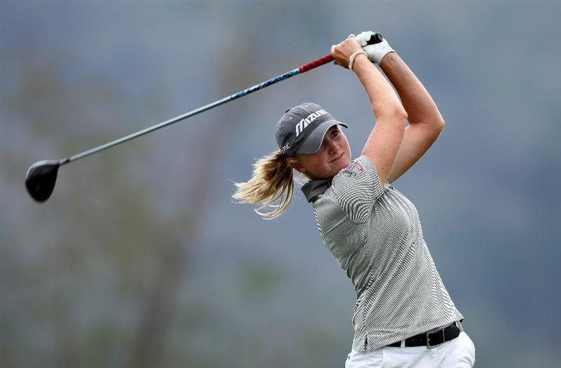 MORELIA, MEXICO- APRIL 23:  Stacy Lewis tees off the fifth hole during the first round of the 2009 Corona Championship, part of the LPGA Tour, on April 23, 2009 at the Tres Marias Golf Club in Morelia, Michoacan, Mexico. (Photo by Donald Miralle/Getty Images)