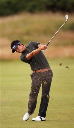 TURNBERRY, SCOTLAND - JULY 15:  Ryuji Imada of Japan plays a shot during a practice round prior to the 138th Open Championship on the Ailsa Course, Turnberry Golf Club on July 15, 2009 in Turnberry, Scotland.  (Photo by Ross Kinnaird/Getty Images)
