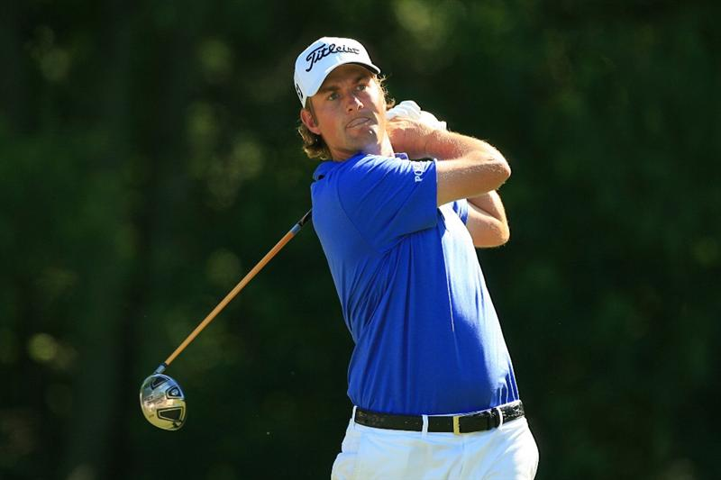 NEW ORLEANS, LA - APRIL 29: Webb Simpson hits his tee shot on the fifth hole during the second round of the Zurich Classic at the TPC Louisiana on April 29, 2011 in New Orleans, Louisiana. (Photo by Hunter Martin/Getty Images)