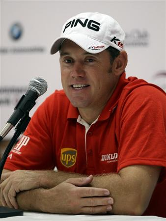 DOHA, QATAR - FEBRUARY 02: Lee Westwood of England in his press conference during the pro-am event prior to the Commercialbank Qatar Masters on February 2, 2011 in Doha, Qatar.  (Photo by Ross Kinnaird/Getty Images)