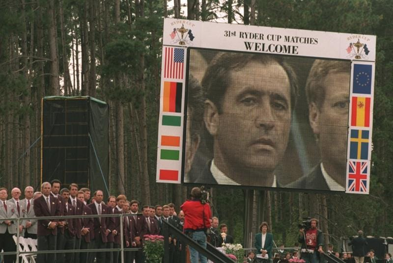 21 SEP 1995:  SEVE BALLESTEROS OF SPAIN LOOKS ON AS BOTH TEAMS STAND FOR THE NATIONAL ANTHEMS DURING THE OPENING CEREMONY OF THE 1995 RYDER CUP AT OAK HILL COUNTRY CLUB, ROCHESTER, NEW YORK, USA. Mandatory Credit: David Cannon/ALLSPORT
