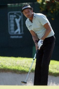 LAKE BUENA VISTA, FLORIDA - NOVEMBER 03:  Jesper Parnevik of Sweden putts on the 18th hole on the Magnolia Course during the third round of The Childrens Miracle Network Classic held on the Palm and Magnolia Courses at The Disney Shades of Green Resort, on November 3, 2007 in Lake Buena Vista, Florida,  (Photo by David Cannon/Getty Images)
