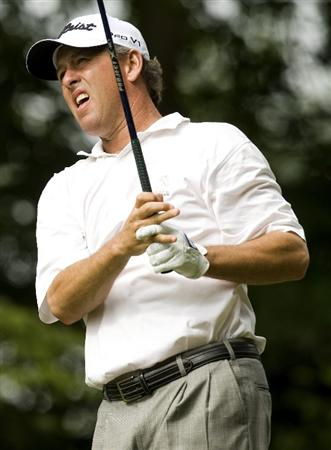 RALEIGH, NC - MAY 28: Jim Rutledge watches his tee shot on the fourth hole during the first round of the Rex Hospital Open Nationwide Tour golf tournament at the TPC Wakefield Plantation on May 28, 2009 in Raleigh, North Carolina. (Photo by Chris Keane/Getty Images)