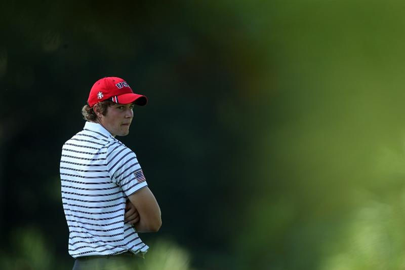 ARDMORE, PA - SEPTEMBER 13:  Peter Uihlein of the USA waits to hits his second shot at the 10th hole during the morning foursome matches on the East Course at Merion Golf Club on September 13, 2009 in Ardmore, Pennsylvania  (Photo by David Cannon/Getty Images)