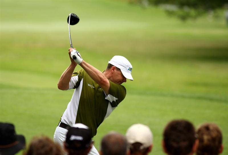 JOHANNESBURG, SOUTH AFRICA - JANUARY 11:  Joakim Haeggman of Sweden tee's off at the 6th during the final round of the Joburg Open at Royal Johannesburg and Kensington Golf Club on January 11, 2009 in Johannesburg, South Africa.  (Photo by Richard Heathcote/Getty Images)