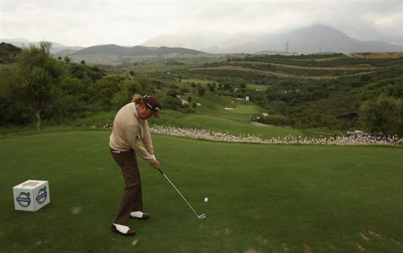 CASARES, SPAIN - MAY 18:  Miguel Angel Jimenez of Spain hits his tee-shot on the tenth hole during the Pro Am prior to the start of the Volvo World Match Play Championship at Finca Cortesin on May 18, 2011 in Casares, Spain.  (Photo by Andrew Redington/Getty Images)