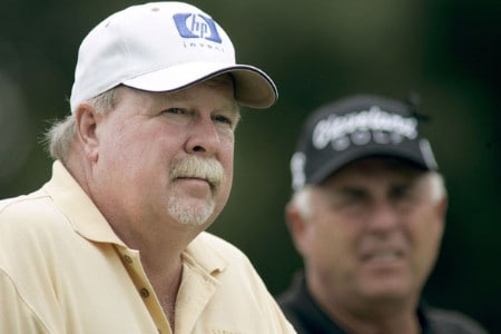 Craig Stadler, left, and Doug Tewell wait to tee off on the 11th hole during the first round of the 2005 SAS Championship Friday, September 30, 2005, at Prestonwood Country Club in Cary, North Carolina.Photo by Grant Halverson/WireImage.com