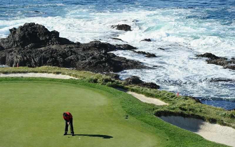 PEBBLE BEACH, CA - FEBRUARY 11:  Steve Marino putting on the seventh during the second round of the AT&T Pebble Beach National Pro-Am at the Pebble Beach Golf Links on February 11, 2011  in Pebble Beach, California  (Photo by Stuart Franklin/Getty Images)