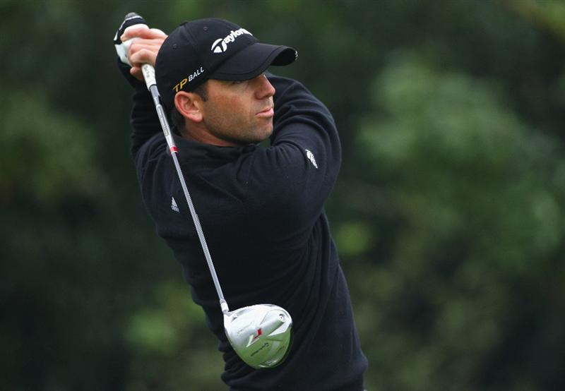 SHANGHAI, CHINA - NOVEMBER 10:  Sergio Garcia of Spain watches his tee shot on the eighth hole during the final round of the HSBC Champions at Sheshan Golf Club on November 10, 2008 in Shanghai, China.  (Photo by Andrew Redington/Getty Images)