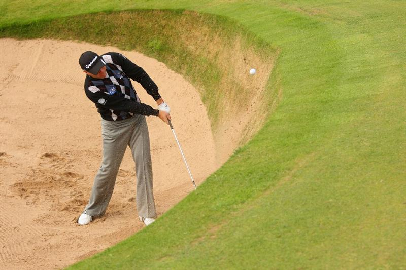 TURNBERRY, SCOTLAND - JULY 14:  Graeme Storm of England hits from a bunker on the 6th hole during a practice round prior to the 138th Open Championship on the Ailsa Course, Turnberry Golf Club on July 14, 2009 in Turnberry, Scotland.  (Photo by Andrew Redington/Getty Images)