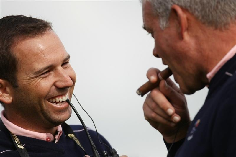 NEWPORT, WALES - SEPTEMBER 30:  Vice Captains Sergio Garcia (L) and Darren Clarke chat together during a practice round prior to the 2010 Ryder Cup at the Celtic Manor Resort on September 30, 2010 in Newport, Wales.  (Photo by Ross Kinnaird/Getty Images)