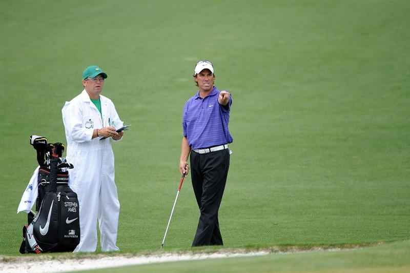 AUGUSTA, GA - APRIL 11:  Stephen Ames and his caddie Dean Eilliot talk about a shot on the second hole during the third round of the 2009 Masters Tournament at Augusta National Golf Club on April 11, 2009 in Augusta, Georgia.  (Photo by Harry How/Getty Images)