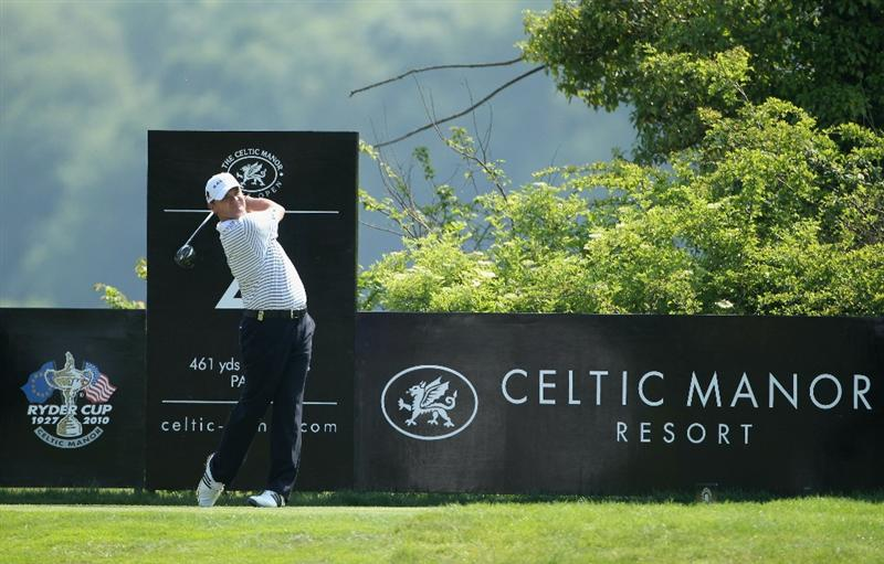 NEWPORT, WALES - JUNE 04:  Paul Lawrie of Scotland in action during the second round of the Celtic Manor Wales Open on The Twenty Ten Course at The Celtic Manor Resort on June 4, 2010 in Newport, Wales.  (Photo by Andrew Redington/Getty Images)