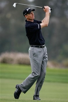 SAN DIEGO - JUNE 12:  Jim Furyk hits his second shot on the 14th hole during the first round of the 108th U.S. Open at the Torrey Pines Golf Course (South Course) on June 12, 2008 in San Diego, California.  (Photo by Jeff Gross/Getty Images)
