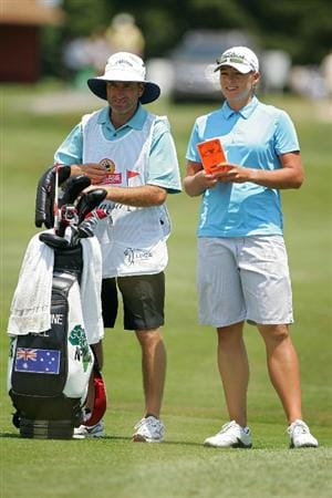 GALLOWAY, NJ - JUNE 19:  Katherine Hull (R) of Australia prepares to play a shot from the fairway during the second round of the ShopRite LPGA Classic held at Dolce Seaview Resort (Bay Course) on June 19, 2010 in Galloway, New Jersey.  (Photo by Michael Cohen/Getty Images)