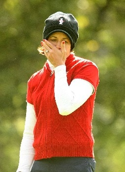 HALMSTAD, SWEDEN - SEPTEMBER 15:  Laura Diaz of the U.S. reacts to a missed putt on the fourth green during the morning foursome matches of the 2007 Solheim Cup at the Halmstad Golf Club September 15, 2007 in Halmstad, Sweden.  (Photo by Scott Halleran/Getty Images)