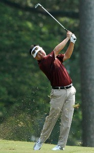 Charlie Wi of South Korea hits his shot from the 18th fairway during the second round of the Wyndham Championship at Forest Oaks Country Club on August 17, 2007 in Greensboro, North Carolina. PGA TOUR - 2007 Wyndham Championship - Second RoundPhoto by Jonathan Ernst/WireImage.com