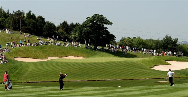 NEWPORT, WALES - JUNE 04:  Raphael Jacqulien of France during the second round of the Celtic Manor Wales Open on the 2010 Course at the Celtic Manor Resort on June 4, 2010 in Newport, Wales.  (Photo by Ross Kinnaird/Getty Images)