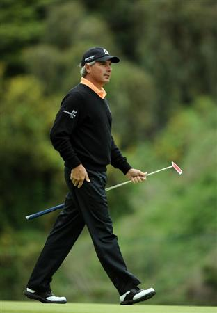 PACIFIC PALISADES, CA - FEBRUARY 18:  Fred Couples walks on the eighth green during the second round of the Northern Trust Open at the Riviera Country Club on February 18, 2011 in Pacific Palisades, California.  (Photo by Harry How/Getty Images)