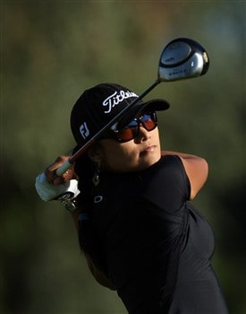 RANCHO MIRAGE, CA - APRIL 3:  Jimin Kang of South Korea hits her tee shot at the second hole during the first round of the Kraft Nabisco Championship at the Mission Hills Country Club, on April 3, 2008 in Rancho Mirage, California.  (Photo by David Cannon/Getty Images)