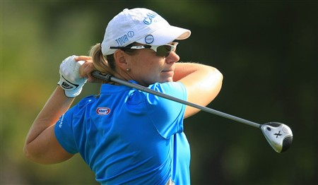 MT. PLEASANT, SC - MAY 30:  Annika Sorenstam of Sweden tees off the 12th tee during the second round of the Ginn Tribute at RiverTowne Country Club on May 30, 2008 in Mt. Pleasant, South Carolina.  (Photo by Scott Halleran/Getty Images)