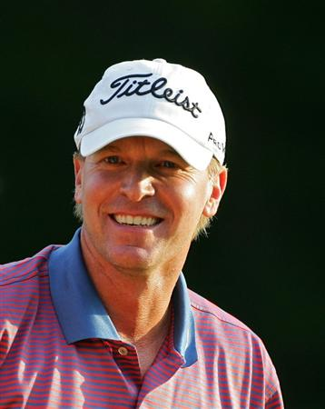 NORTON, MA - SEPTEMBER 07:  Steve Stricker smiles after winning the Deutsche Bank Championship at TPC Boston held on September 7, 2009 in Norton, Massachusetts.  (Photo by Michael Cohen/Getty Images)