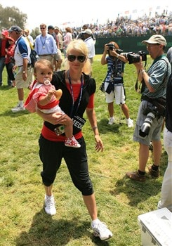 SAN DIEGO - JUNE 16:  Elin Nordegren Woods walks with her daughter Sam after Tiger Woods won the playoff round of the 108th U.S. Open at the Torrey Pines Golf Course (South Course) on June 16, 2008 in San Diego, California.  (Photo by Travis Lindquist/Getty Images)
