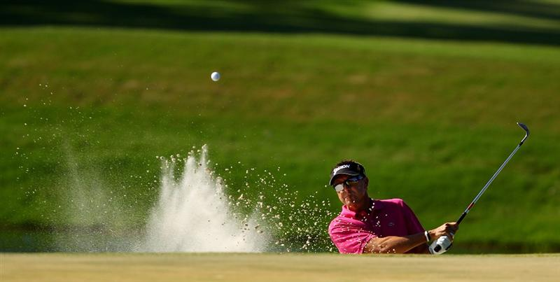 PONTE VEDRA BEACH, FL - MAY 09:  Robert Allenby of Australia plays from a greenside bunker on the 11th hole during the final round of THE PLAYERS Championship held at THE PLAYERS Stadium course at TPC Sawgrass on May 9, 2010 in Ponte Vedra Beach, Florida.  (Photo by Richard Heathcote/Getty Images)