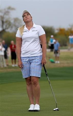 PHOENIX, AZ - MARCH 20:  Brittany Lincicome reacts after missing a birdie putt attempt on the 17th hole during the final round of the RR Donnelley LPGA Founders Cup at Wildfire Golf Club on March 20, 2011 in Phoenix, Arizona. (Photo by Stephen Dunn/Getty Images)