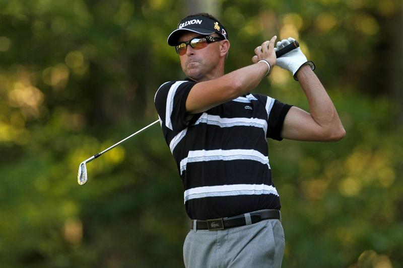 NORTON, MA - SEPTEMBER 04:  Robert Allenby of Australia hits the ball off the eight tee during the second round of the Deutsche Bank Championship at TPC Boston on September 4, 2010 in Norton, Massachusetts.  (Photo by Mike Ehrmann/Getty Images)