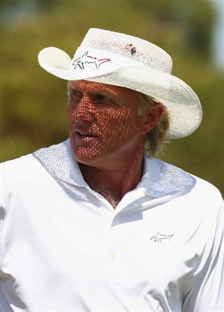 PERTH, AUSTRALIA - FEBRUARY 17:  Greg Norman of Australia looks on during the Pro-Celebrity event in aid of the Victorian Bushfires Red Cross appeal as a preview for the 2009 Johnnie Walker Classic tournament at the Vines Resort and Country Club, on February 17, 2009 in Perth Western Australia.  (Photo by Ian Walton/Getty Images)