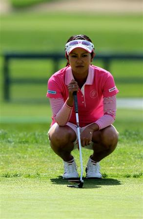 CARLSBAD, CA - MARCH 27:  Ai Miyazato of Japan lines up her putt on the second hole during the third round of the Kia Classic Presented by J Golf at La Costa Resort and Spa on March 27, 2010 in Carlsbad, California.  (Photo by Stephen Dunn/Getty Images)