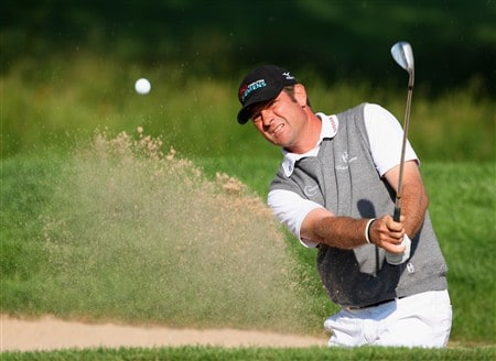 MUNICH, GERMANY - JUNE 20:  Sven Struver of Germany plays his bunker shot on the 10th hole during the second round of The BMW International Open Golf at The Munich North Eichenried Golf Club on June 20, 2008, in Munich, Germany.  (Photo by Stuart Franklin/Getty Images)
