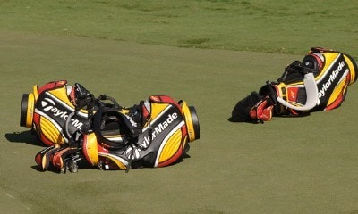 Taylor Made golf bags rest near the 18th green during practice   at the 2006 Honda Classic March 7 at the Country Club at Mirasol in Palm Beach Gardens, Florida.Photo by Al Messerschmidt/WireImage.com