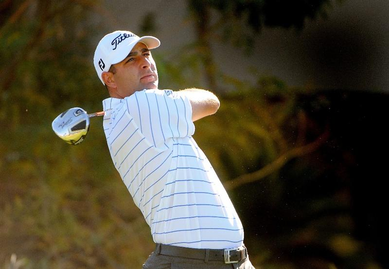 LAS VEGAS - OCTOBER 17:  Marc Turnesa tees off the 4th hole during the second round of the Justin Timberlake Shriners Hospitals for Children Open held at the TPC Summerlin on Friday, October 17, 2008 in Las Vegas, Nevada. (Photo by Marc Feldman/Getty Images)