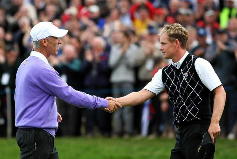 NEWPORT, WALES - OCTOBER 02:  USA Team Captain Corey Pavin shakes hands with Luke Donald of Europe during the rescheduled Afternoon Foursome Matches during the 2010 Ryder Cup at the Celtic Manor Resort on October 2, 2010 in Newport, Wales.  (Photo by Jamie Squire/Getty Images)
