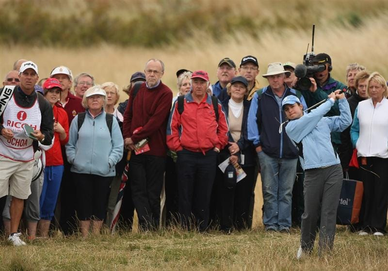 LYTHAM ST ANNES, ENGLAND - JULY 31:  Lorena Ochoa of Mexico hits her second shot on the 15th hole during the second round of the 2009 Ricoh Women's British Open Championship held at Royal Lytham St Annes Golf Club, on July 31, 2009 in  Lytham St Annes, England.  (Photo by Warren Little/Getty Images)