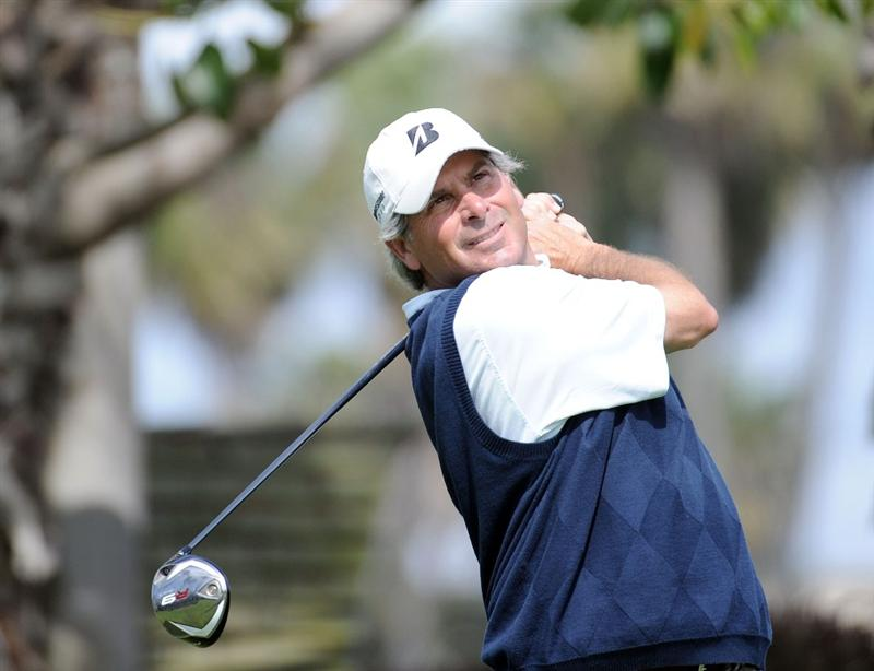 NEWPORT BEACH, CA - MARCH 07:  Fred Couples watches his tee shot on the sixth hole during the third round of the Toshiba Classic at the Newport Beach Country Club on March 7, 2010 in Newport Beach, California.  Couples would go on to win the tournament.  (Photo by Harry How/Getty Images)