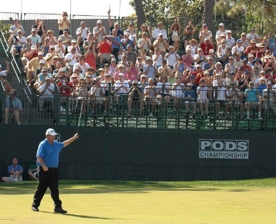 Mark Calcavecchia makes a birdie putt on the 18th hole during the third round of the PODS Championship held on the Copperhead Course at Innisbrook Resort & Golf Club in Tampa Bay, Florida, on March 10, 2007. PGA TOUR - 2007 PODS Championship - Third RoundPhoto by Fred Vuich/WireImage.com
