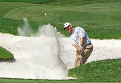 Dudley Hart blasts out of the greenside bunker on the 16th hole during final round of the EDS Byron Nelson Championship held at the TPC Players Course and the Cottonwood Valley Course on Sunday, May 14, 2006 in Irving, TexasPhoto by Marc Feldman/WireImage.com