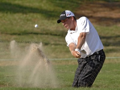 Doug Barron blasts from a bunker near the 15th green during the first round of the 2006 Chrysler Championship Oct. 26 in Palm Harbor, Fl. PGA TOUR - 2006 Chrysler Championship - First RoundPhoto by Al Messerschmidt/WireImage.com