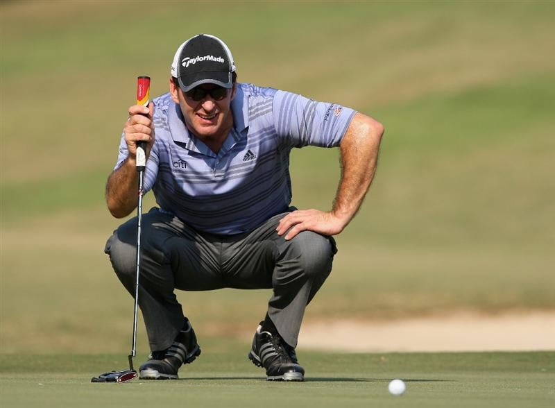 HONG KONG, CHINA - NOVEMBER 21:  Nick Faldo of England lines up his putt on the 13th hole during the second round of the UBS Hong Kong Open at the Hong Kong Golf Club on November 21, 2008 in Fanling, Hong Kong.  (Photo by Stuart Franklin/Getty Images)