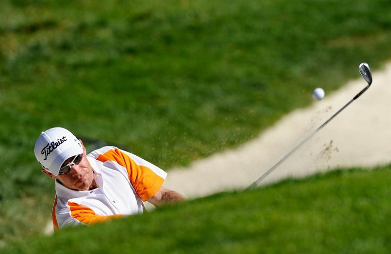 PEBBLE BEACH, CA - FEBRUARY 12:  Brian Davis of England plays his bunker shot on the 16th hole during the third round of the AT&T Pebble Beach National Pro-Am at the Spyglass Hil Golf Course on February 11, 2011  in Pebble Beach, California  (Photo by Stuart Franklin/Getty Images)