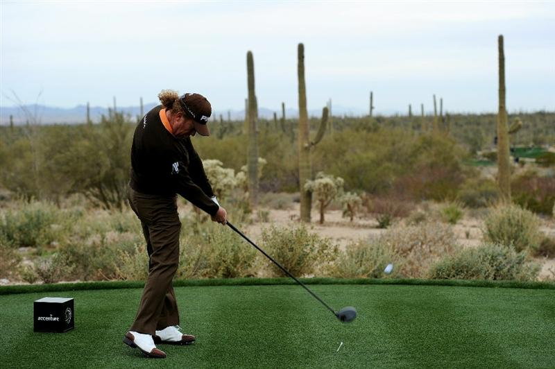 MARANA, AZ - FEBRUARY 26:  Miguel Angel Jimenez of Spain hits his tee shot on the fifth hole during the quarterfinal round of the Accenture Match Play Championship at the Ritz-Carlton Golf Club on February 26, 2011 in Marana, Arizona.  (Photo by Stuart Franklin/Getty Images)
