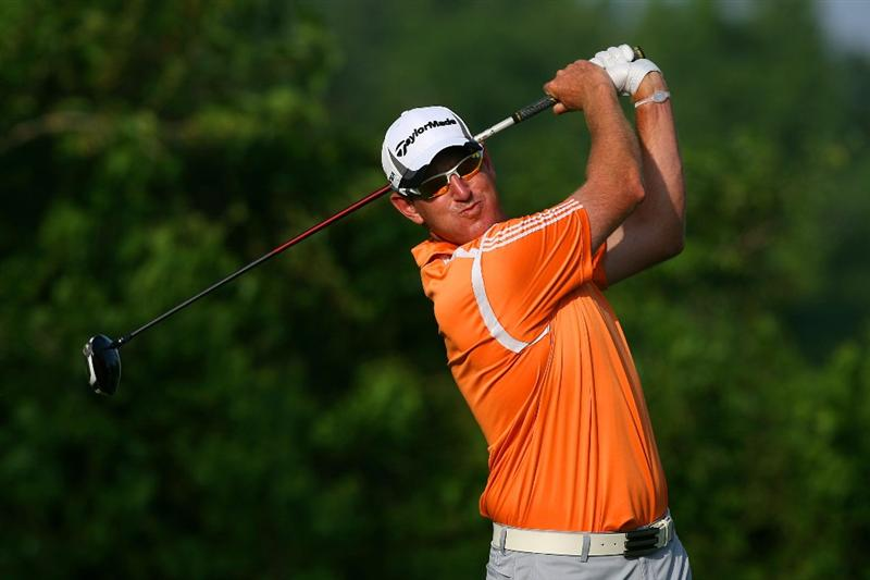 AVONDALE, LA - APRIL 24:  Greg Owen of England tees off on the 2nd hole during the third round of the Zurich Classic at TPC Louisiana on April 24, 2010 in Avondale, Louisiana.  (Photo by Chris Trotman/Getty Images)