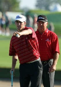 Shaun O'Meara and his father Mark O'Meara play the 1st hole during the final round of the 2007 Del Webb Father Son Challenge on the International Course at Champions Gate Golf Club, on December 2, 2007 in Champions Gate, Florida, Champions Tour - Del Webb Father-Son Challenge - Final RoundPhoto by David Cannon/WireImage.com